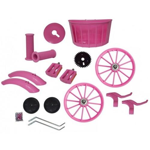 Kit Montagem Aro 16 Rosa Bicicleta Infantil Menina C/ Rodas
